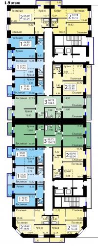 Рябиновый сад, БС 11 - Планировка 1-9 этажи